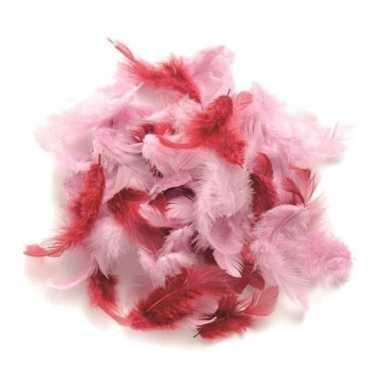 10 gram versiering veren roze tinten