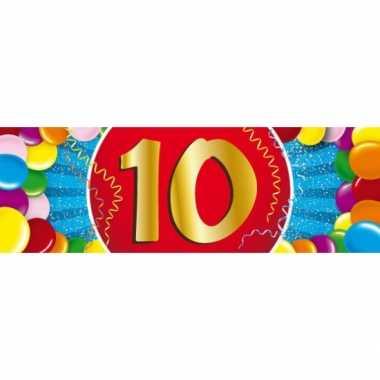 10 jaar leeftijd sticker 19 x 6 cm verjaardag versiering
