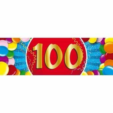 100 jaar leeftijd sticker 19 x 6 cm verjaardag versiering
