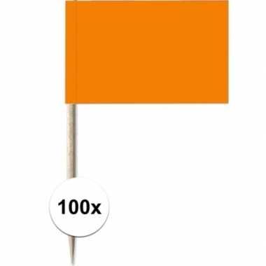 100x cocktailprikkers oranje 8 cm vlaggetje versiering