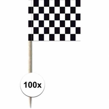 100x cocktailprikkers race/finish vlag 8 cm vlaggetjes versiering
