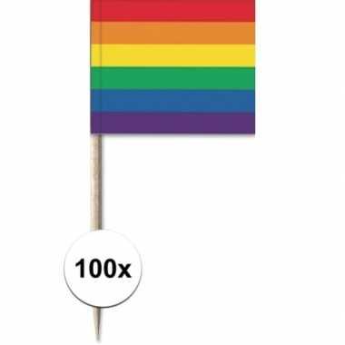 100x cocktailprikkers regenboog vlag 8 cm vlaggetje versiering