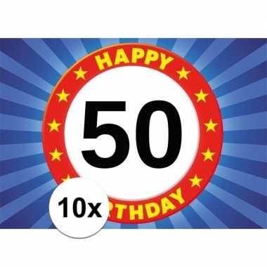 10x 50 jaar leeftijd sticker 7,5 x 10,5 cm verjaardag versiering