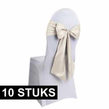 10x bruiloft stoel versiering creme strikken