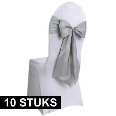 10x bruiloft stoel versiering zilveren strikken