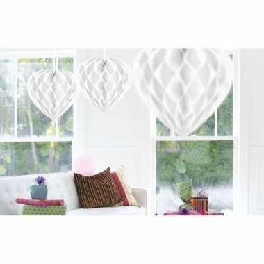 10x feestversiering wit versiering hart 30 cm