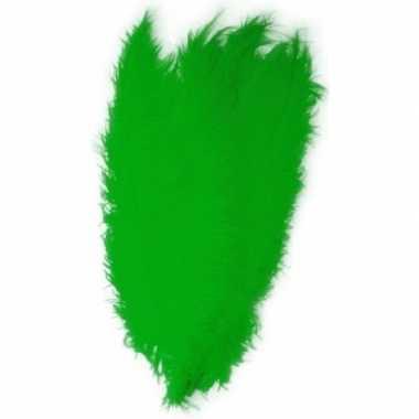 10x grote versiering veren/struisvogelveren groen 50 cm