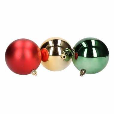 10x kerstboom versiering kerstballen mix rood/groen 8cm