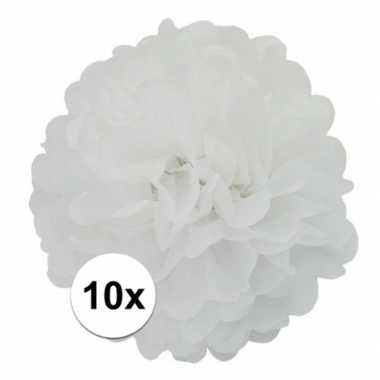10x stuks witte pompom versiering 25 cm