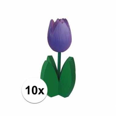 10x versiering houten paarse tulpen