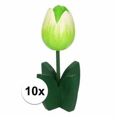 10x versieringhouten witte tulpen