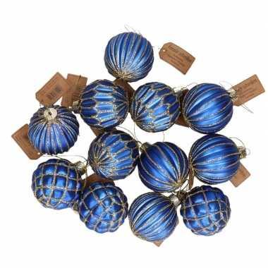 12x blauwe luxe glazen kerstballen met gouden versiering 8 cm