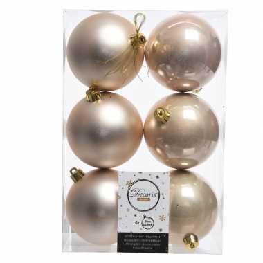 12x creme kerstversiering kerstballen kunststof 8 cm