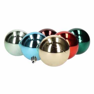 12x kerstboomversiering kerstballen glanzend bonte kleuren 6 cm