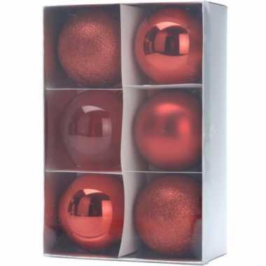 12x kerstboomversiering rode kerstballen 8 cm