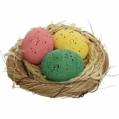 12x nestjes met kippeneieren roze/groen/geel 9 cm versiering