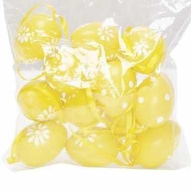 12x pasen versiering paaseieren geel 4 cm