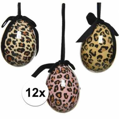 12x pasen versiering paaseieren luipaardprint 6 cm