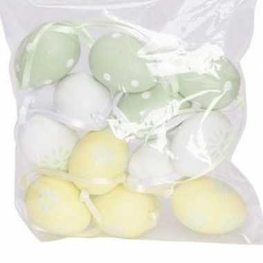 12x pasen versiering paaseieren pastel groen/geel/wit 4 cm