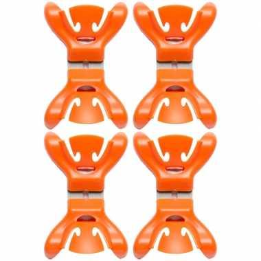 12x slingers/versiering ophangen slingerklemmen oranje