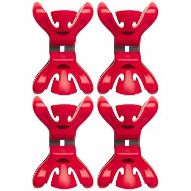 12x slingers/versiering ophangen slingerklemmen rood