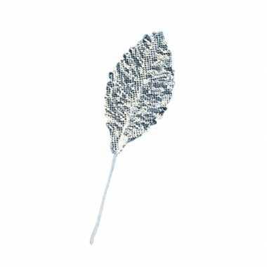 12x stuks versiering brokaat bladeren/blaadjes zilver