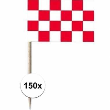 150x cocktailprikkers brabant 8 cm vlaggetje provincie versiering