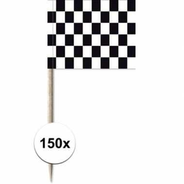 150x cocktailprikkers race/finish vlag 8 cm vlaggetjes versiering