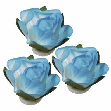 15x stuks papieren versiering bloemen turquoise blauw