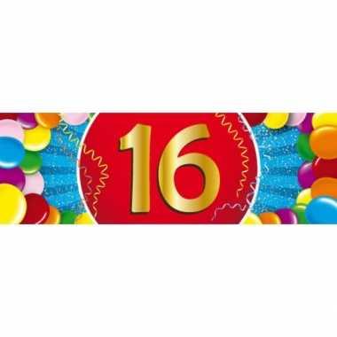 16 jaar leeftijd sticker 19 x 6 cm verjaardag versiering