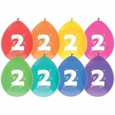 16x ballonnen 2 jaar verjaardag/leeftijd versiering