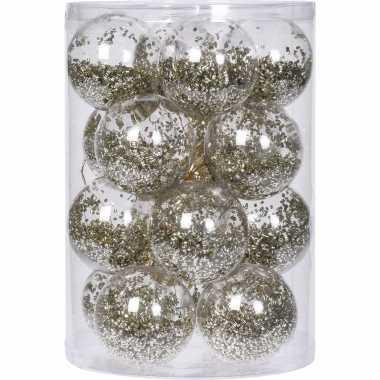 16x doorzichtige kunststof kerstballen met gouden versiering 8 cm