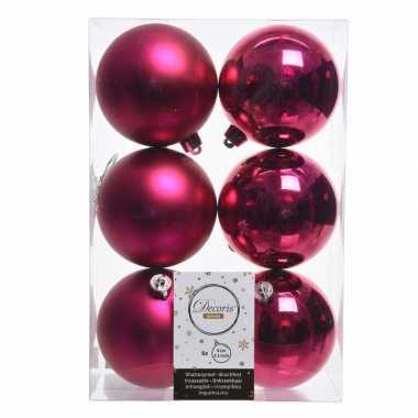 18x fuchsia roze kerstversiering kerstballen kunststof 8 cm