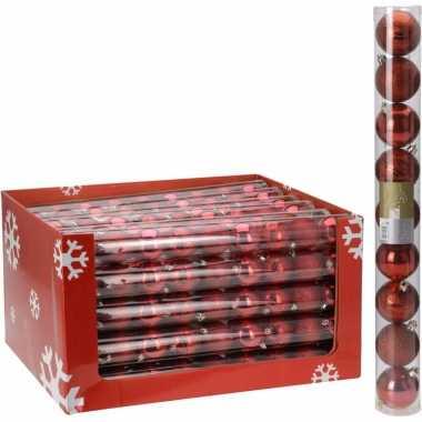 18x kerstboom versiering kerstballen mix rood 9 stuks