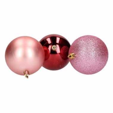 18x kerstboom versiering kerstballen mix roze/bordeaux 6 cm