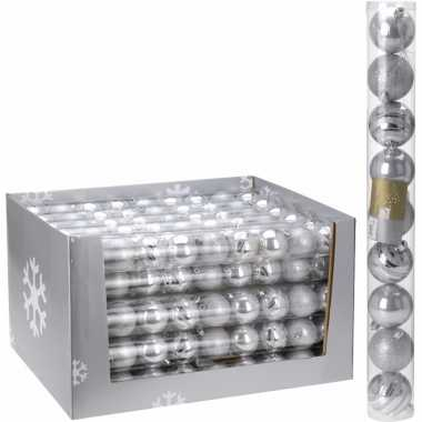 18x kerstboom versiering kerstballen mix zilver 9 stuks