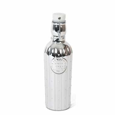 1x glazen woonversiering flessen zilver met beugeldop 550 ml