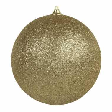 1x gouden grote versiering kerstballen met glitter kunststof 25 cm