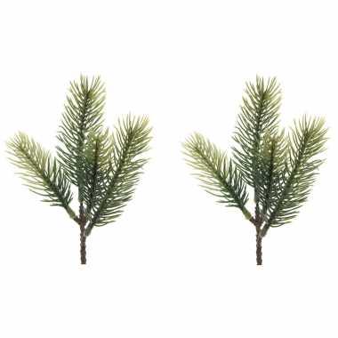 1x groene kersttakken dennentakjes 23 cm kerstversiering