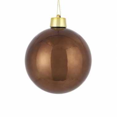 1x grote kunststof versiering kerstballen kastanje bruin 20 cm