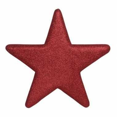 1x grote rode glitter sterren kerstversiering/kerstversiering 40 cm