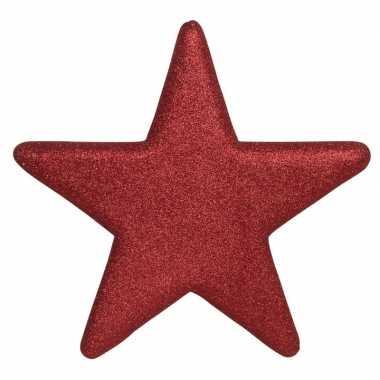1x grote rode glitter sterren kerstversiering/kerstversiering 50 cm