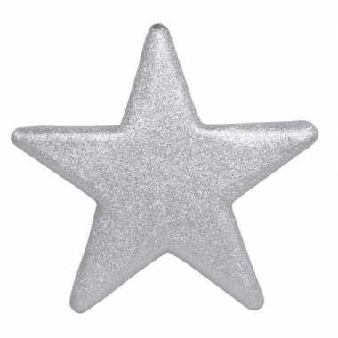 1x grote zilveren glitter sterren kerstversiering/kerstversiering 40