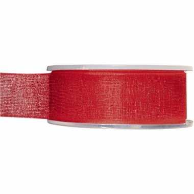 1x hobby/versiering rode organza sierlinten 2,5 cm/25 mm x 20 meter