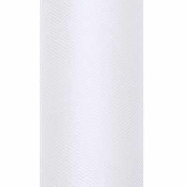 1x hobby versiering witte tule stof op rol 15 cm x 9 meter 10084195