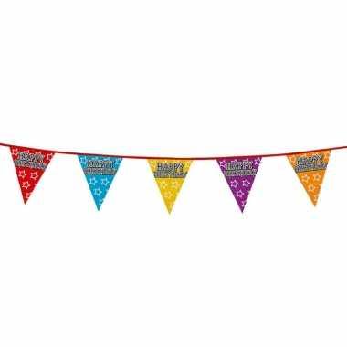 1x holografische vlaggenlijnen happy birthday 8 meter feestversiering