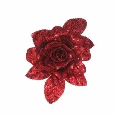 1x kerstboomversiering bloem op clip rode glitter roos 15 cm