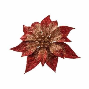 1x kerstboomversiering bloem op clip rood/goud kerstster 18 cm