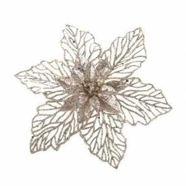 1x kerstboomversiering op clip champagne glitter bloem 17 cm