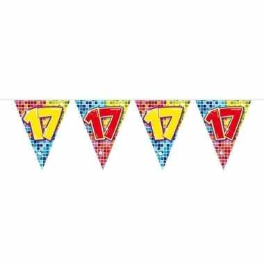 1x mini vlaggenlijn / slinger verjaardag versiering 17 jaar